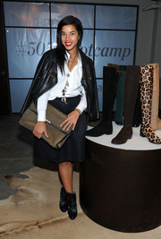 Hannah Bronfman finished off her ultra-edgy ensemble with a pair of black ankle boots.