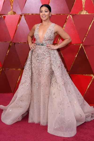 Gina Rodriguez Beaded Dress [gown,dress,flooring,beauty,fashion model,lady,carpet,fashion,shoulder,cocktail dress,arrivals,gina rodriguez,academy awards,hollywood highland center,california,90th annual academy awards]
