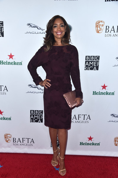 Gina Torres Cocktail Dress [clothing,dress,red carpet,cocktail dress,carpet,little black dress,premiere,footwear,event,flooring,arrivals,gina torres,tea party,los angeles,beverly hills,california,the beverly hilton hotel,bafta,bbc,america tv]