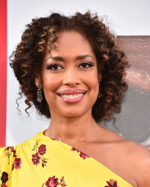 Gina Torres Curly Updo [equalizer 2,hair,hairstyle,ringlet,face,beauty,eyebrow,chin,lip,smile,long hair,arrivals,gina torres,california,hollywood,tcl chinese theatre,columbia pictures,premiere,premiere]