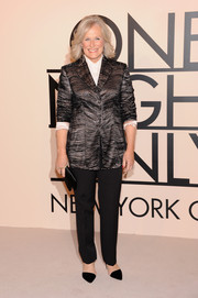 Glenn Close opted for a patterned black Armani blazer and a pair of slacks when she attended the Giorgio Armani SuperPier show.