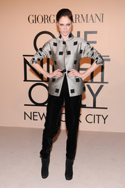 Coco Rocha chose a classy silver Armani jacket with black square accents for the Giorgio Armani SuperPier show.
