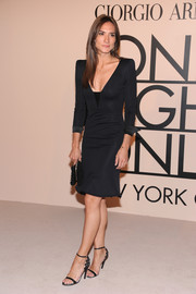 Zani Gugelmann's black evening sandals and LBD at the Armani SuperPier show were a very elegant pairing.