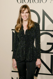 Hilary Swank was sparkly and chic in a sequined black Armani jacket during the Giorgio Armani SuperPier show.