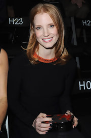Jessica Chastain swept on a glossy midnight blue shade of nail polish for the Giorgio Armani Prive fashion show in Paris.