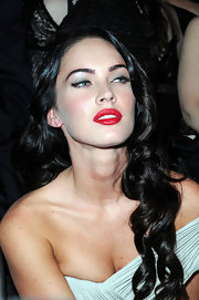 Megan Fox channeled old Hollywood in matte red lips. Her teeth never looked whiter!