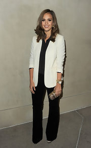 Jessica Alba showed off her post-baby bod at the 'Vanity Fair' soiree in LA. The hot momma donned a white blazer paired with a chic box clutch.