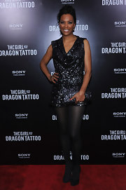 Aisha Tyler glittered in a beaded mini for the 'Girl With the Dragon Tattoo' premiere.