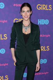 Hilary Rhoda wore a diamond bib necklace for an ultra-glam touch to her menswear-inspired outfit at the 'Girls' season 3 premiere.