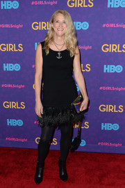 Nanette Lepore went for a flirty vibe in a sleeveless LBD with a feathered hem during the 'Girls' season 3 premiere.
