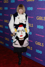 Anna Wintour showed off her bold winter style with this colorful Prada fur coat during the 'Girls' season 3 premiere.