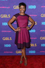 Montego Glover looked lovely at the 'Girls' season 3 premiere in a cap-sleeve dress in two shades of purple.