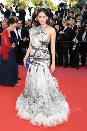 Araya A. Hargate was a vision in a printed one-shoulder gown with a feathered hem at the Cannes Film Festival screening of 'Girls of the Sun.'