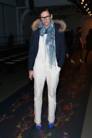 Jenna Lyons continued the blue-white motif with a fringed, patterned scarf.