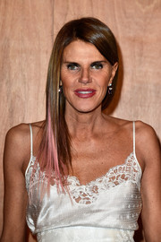 Anna dello Russo sported pink-streaked straight layers at the Givenchy fashion show.