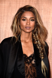 Ciara showed off a romantic loose fishtail braid at the Givenchy fashion show.
