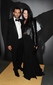 Marina Abramovic looked mod in a textured leather jacket with tailcoats.