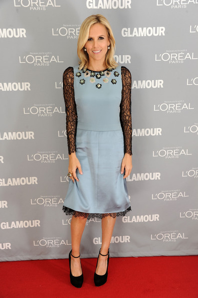 Tory Burch was chic in a powder blue frock paired with black platform pumps complete with ankle strap detailing.