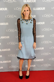 Tory Burch looked sweet and youthful at the Glamour Women of the Year Awards in a baby blue dress with sheer lace sleeves.