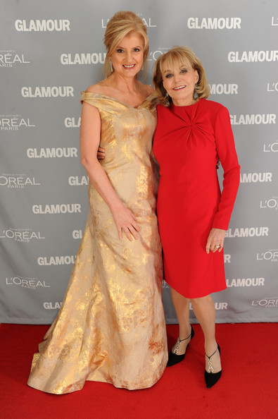 More Pics of Barbara Walters Evening Pumps (1 of 2) - Barbara Walters Lookbook - StyleBistro [clothing,dress,shoulder,carpet,gown,premiere,red carpet,hairstyle,flooring,fashion,barbara walters,arianna huffington,women of the year awards,new york city,glamour]