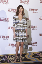 Hanneli Mustaparta made an appearance at the Glamour Beauty Awards wearing an abstract-print mini dress.