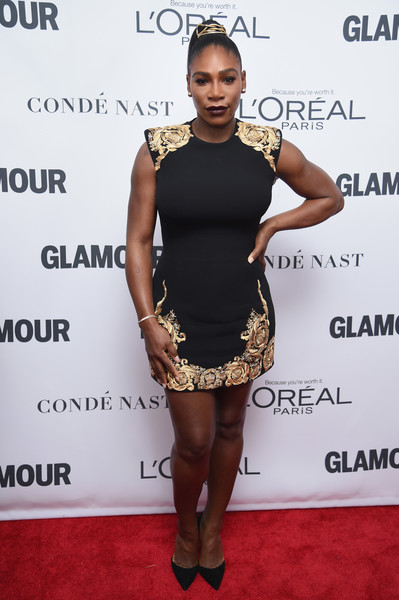 Serena Williams flaunted her amazing physique in a fitted black Versace mini with gold floral embroidery at the 2017 Glamour Women of the Year Awards.