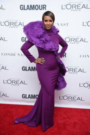Iman was diva-gorgeous in a purple Christian Siriano fishtail gown with oversized ruffle detailing at the 2017 Glamour Women of the Year Awards.
