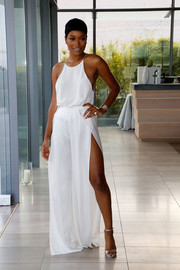 Keke Palmer injected some shimmer with a pair of silver ankle-strap heels by Jerome C. Rousseau.