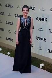 Maria Valverde looked breathtaking in a beaded black gown with a keyhole neckline.