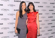 Lisa Ling kept it understatedly chic with a black envelope clutch as her only accessory as she attended the Glamour Women of The Year awards.