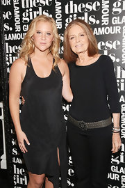 Gloria Steinem was simple yet sophisticated in a black boatneck sweater spruced up with a silver belt during Glamour's presentation of 'These Girls.'