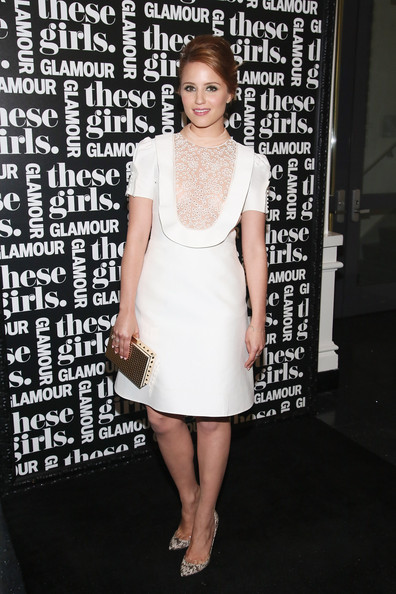 Dianna Agron paired stylish snakeskin pumps with her dainty dress during Glamour's presentation of 'These Girls.'
