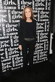 Gloria Steinem opted for a minimalist black pantsuit when she attended Glamour's presentation of 'These Girls.'