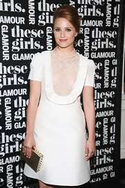 Dianna Agron looked demure yet classy in a white Valentino cocktail dress during Glamour's presentation of 'These Girls.'