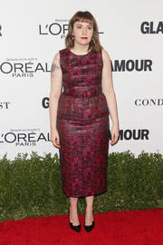 Lena Dunham kept it ladylike in a raspberry print dress by Jonathan Cohen at the Glamour Women of the Year 2016.