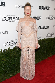 Amber Heard went ultra feminine in a pale-pink lace halter gown by Alessandra Rich at the Glamour Women of the Year 2016.