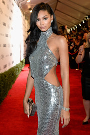 Chanel Iman went for high shine at the Glamour Women of the Year 2016, pairing a Harry Kotlar stacked diamond bracelet with a silver sequin dress.