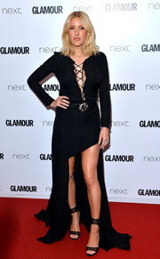 Ellie Goulding paired her gown with black Casadei ankle-cuff sandals.