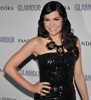 Jessie J styled her hair in retro waves that were softly swept to the side.