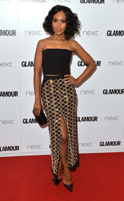 For a more glamorous finish, Kerry Washington teamed her top with a crystal-embellished pencil skirt, also by David Koma.
