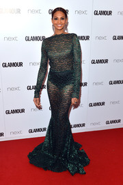 Alesha Dixon jumped in on the sheer trend with this green lace mermaid gown by Michael Costello during the Glamour Women of the Year Awards.
