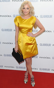Fearne Cotton accented her yellow frock with a black suede frame clutch at the 'Glamour' Women of the Year Awards.