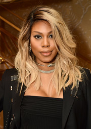 Laverne Cox showed off a stylish wavy 'do at the Glamour x Tory Burch Women to Watch lunch.
