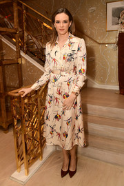 Danielle Panabaker was business-chic in a printed shirtdress at the Glamour x Tory Burch Women to Watch lunch.