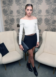 Sistine Rose Stallone paired her top with a tiny navy skirt.