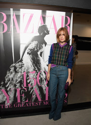Tallulah Belle Willis was cozy and cute in a plaid V-neck sweater during Glenda Bailey's book launch.