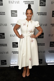 Dascha Polanco looked adorable in a butterfly-adorned zip-front shirtdress at the launch of the Saks IT List Townhouse.
