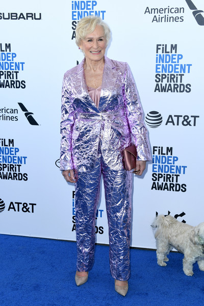 Glenn Close Evening Pumps [clothing,fashion,electric blue,outerwear,carpet,pantsuit,companion dog,suit,canidae,red carpet,arrivals,glenn close,film independent spirit awards,santa monica,california]