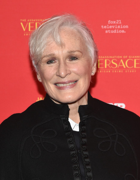 Glenn Close Short Side Part [the assassination of gianni versace: american crime story,hair,hairstyle,blond,official,smile,premiere,glenn close,metrograph,new york screening]