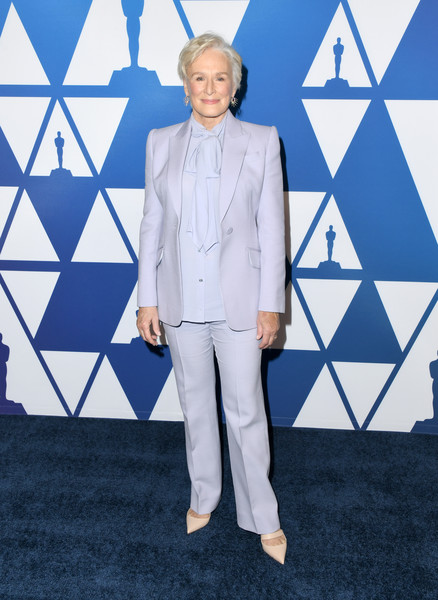 Glenn Close Pantsuit [suit,clothing,fashion,pantsuit,carpet,electric blue,formal wear,outerwear,flooring,event,arrivals,nominees,glenn close,the beverly hilton hotel,beverly hills,california,oscars,oscars nominees luncheon]